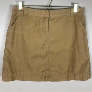 J.CREW Camel Cotton corduroy mini Skirt Size 10